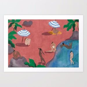 Sézane Pink Beach by Isabelle Feliu Print - NIP